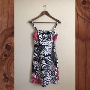 Ann Taylor cotton pique hibiscus print sun dress